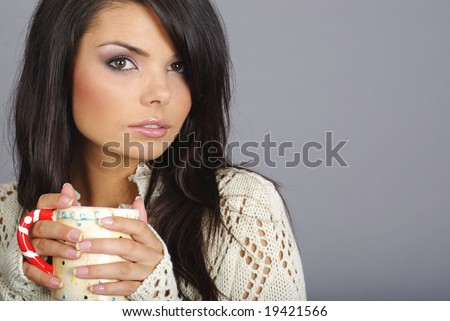 woman with Hot coffee drink