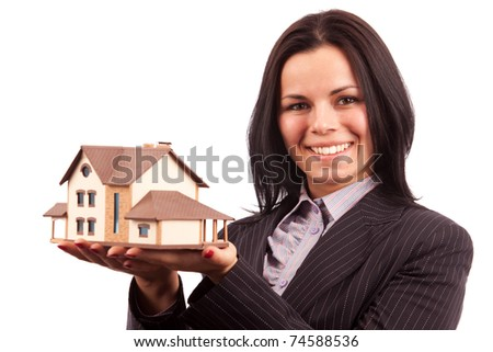 woman with house - stock photo