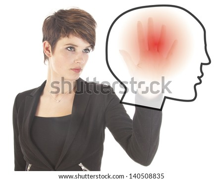 Woman with illustration of head with headache isolated on white - stock photo