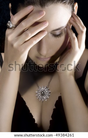 Woman with jewelry - stock photo