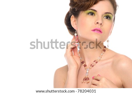 Woman with jewelry from natural stones isolated on white - stock photo