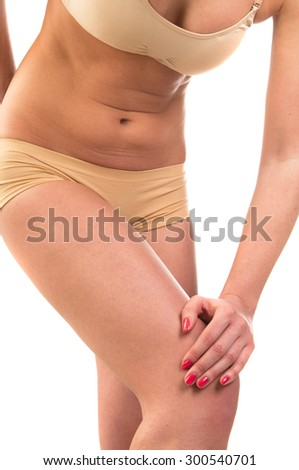 Woman with knee pain isolated on white background