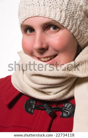 Woman with knit hat and red winter coat