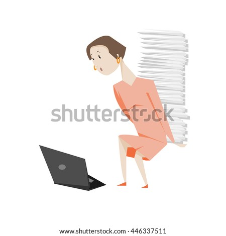 Woman with laptop and much business paper isolated over white