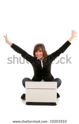 Woman with Laptop Cheering - stock photo