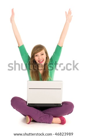 Woman with Laptop Cheering