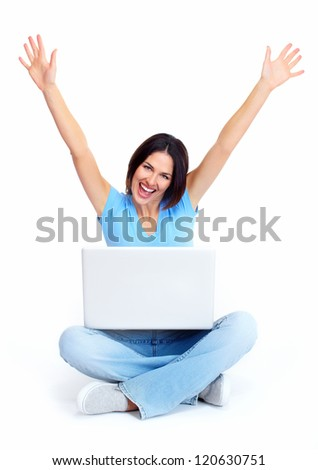 Woman with laptop computer sitting on the floor. Isolated on white.
