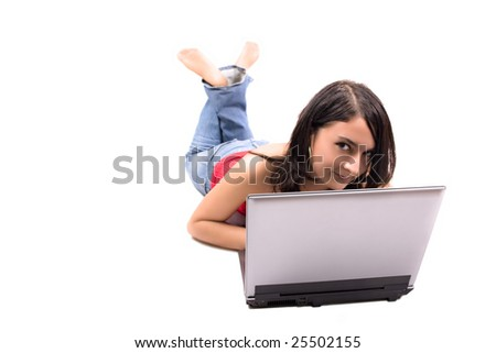 woman with laptop in white background