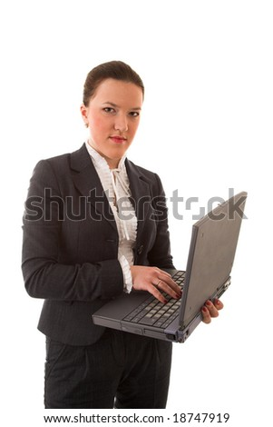 woman with laptop isolated on white background