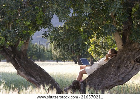 Woman with laptop laying in tree - stock photo