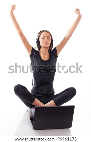 woman with laptop on a white background - stock photo