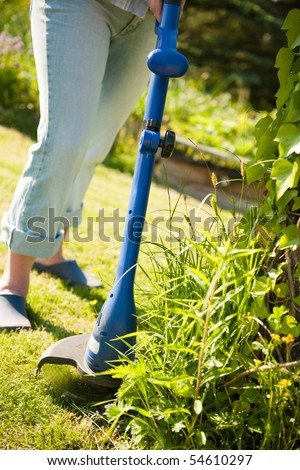 woman with lawn mower in front of back yard - stock photo