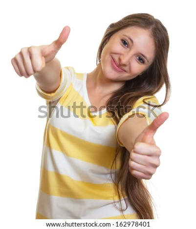 Woman with long brown hair showing both thumbs up - stock photo
