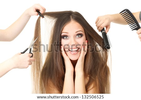 Woman with long hair in beauty salon, isolated on white - stock photo