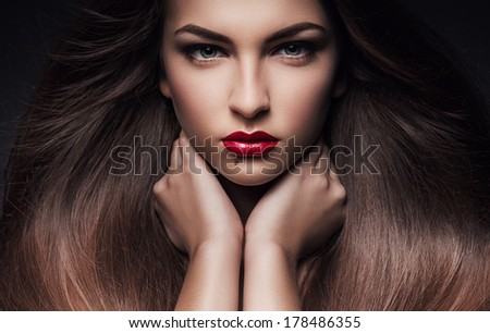woman with long healthy hair - stock photo
