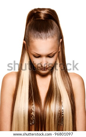 woman with long healthy straight hair - stock photo