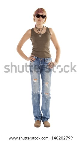 Woman with long legs, wearing brown t-shirt, torn blue jeans and sunglasses, standing, looking at camera. Isolated on white - stock photo