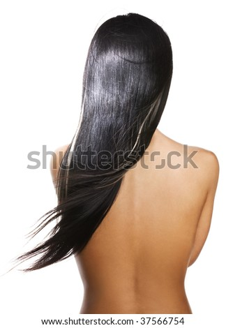 Woman with long silky black hair - stock photo