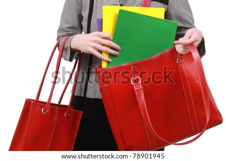 Woman with lots of folders - stock photo