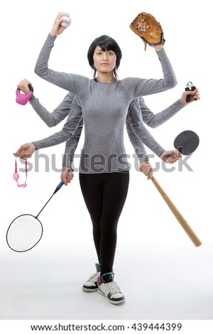 woman with many arms holding different sport objects in each hand - stock photo