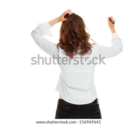 Woman with marker scratching head - stock photo