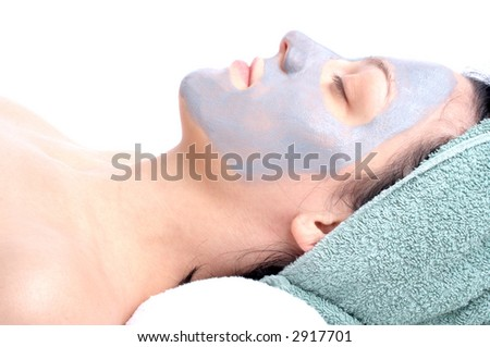 woman with mask on her face - stock photo