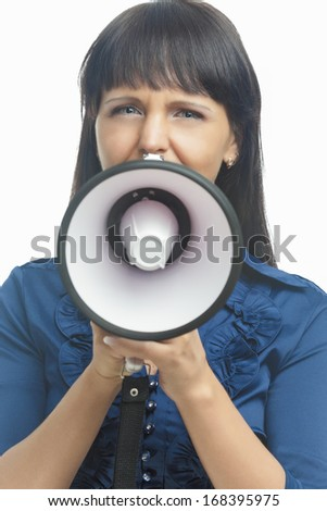 Woman with Megaphone Yelling Standing Isolated against White Background. Vertical Image