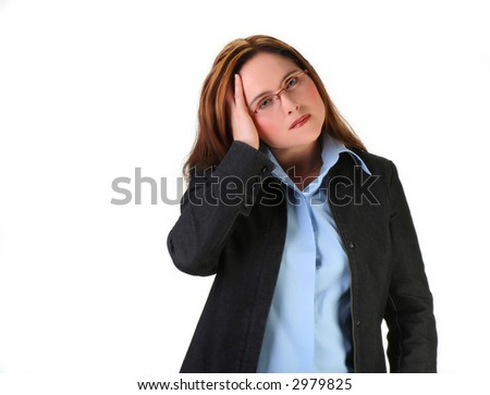 woman with migraine or worrying