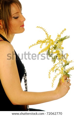 Woman with Mimosa - stock photo