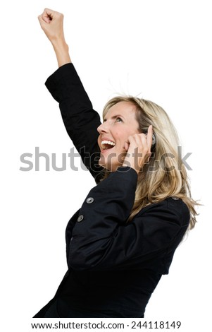 Woman with mobile phone cheering from the news.  - stock photo