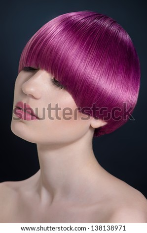 Woman with modern short hairstyle - stock photo