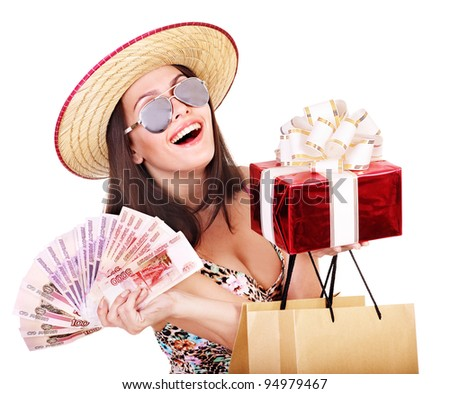 Woman with  money Russian rouble , gift box and shopping bag. - stock photo
