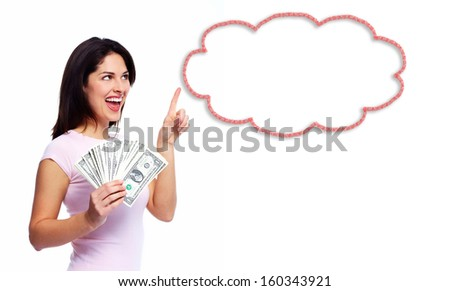 Woman with money. Thinking solution and idea. - stock photo