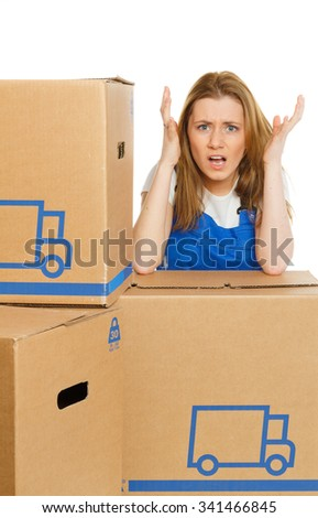 Woman with moving box has stress