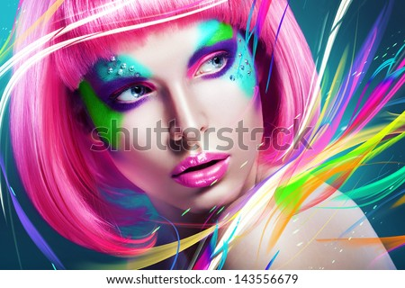 woman with multi lines and pink wig - stock photo