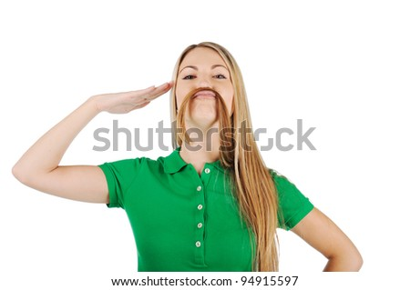 Woman with mustache - stock photo