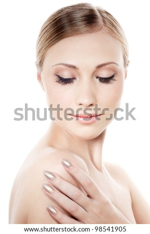 Woman with natural looking makeup and extremely long eyelashes - stock photo