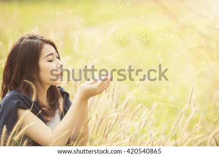 woman  with nature relaxing time