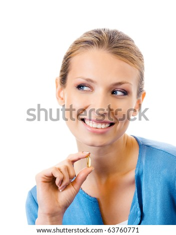 Woman with Omega 3 fish oil capsule, isolated on white - stock photo