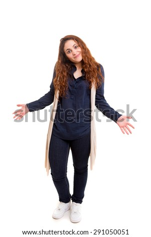 Woman with open hands asking sorry, isolated - stock photo