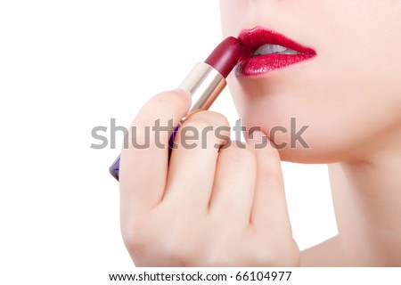 Woman with open mouth and red lipstick