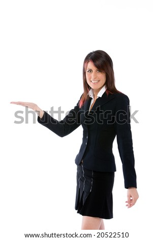 woman with open palm up - stock photo
