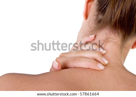 Woman with pain in her neck and shoulder, Isolated medical shot over white background. - stock photo