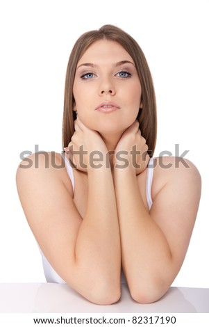 woman with pain in her neck, isolated shot over white background