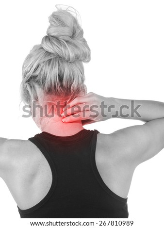 Woman with palm to show pain and injury on neck area. Medical health care concept