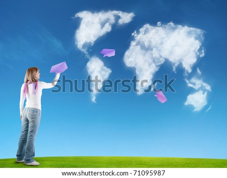 woman with paper planes - stock photo