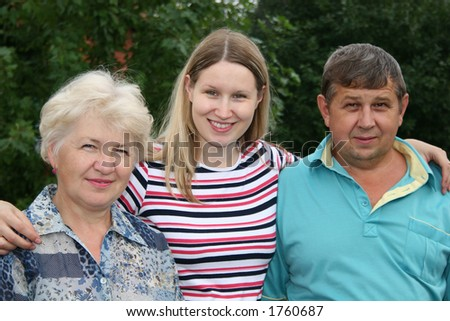 woman with parents