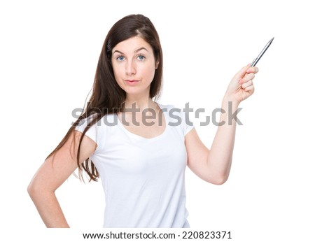 Woman with pen up