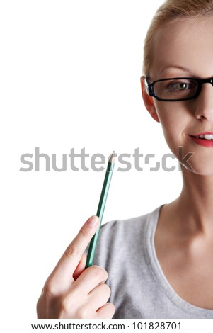 Woman with pencil, isolated on white background - stock photo