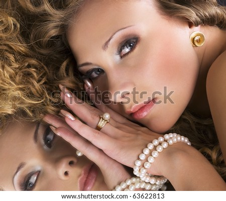 Woman with perfect makeup - stock photo